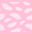 seamless pattern white palm leaves on pink vector image