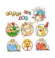 set of yellow dog for new year 2018 cute symbol vector image vector image