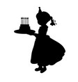 silhouette girl holiday holding cake vector image