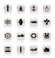 simple marine and sea icons vector image vector image