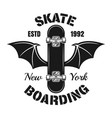 skateboard with bat wings isolated emblem vector image vector image