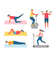 sport and fitness training apparatuses and rugs vector image vector image