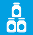 sport nutrition containers icon white vector image vector image