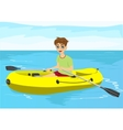 teenager boy with glasses in yellow rubber boat vector image