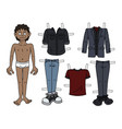 the paper doll funny boy vector image vector image