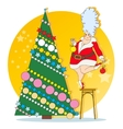 The Snow Maiden is decorated Christmas tree vector image