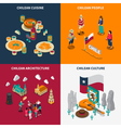 Toristic Chili 4 Isometric Icons Set vector image vector image