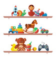 toys on shelves merchandise for kids teddy bear vector image