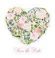 valentine s day heart pink roses isolated vector image