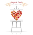 Vegetarian heart on canvas and easel red and vector image vector image