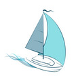 yacht with sail on waves vector image vector image