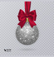 realistic christmas ball with red ribbon and vector image