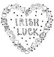 collection of irish symbols irish luck lettering vector image
