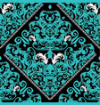 baroque seamless pattern black floral ornate vector image