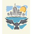Bird flying to modern city vector image vector image