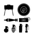 black silhouette of hand grenade mine vector image vector image