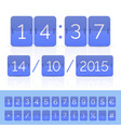 blue flat flip calendar with timer on white vector image