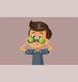 boy holding binoculars cartoon vector image