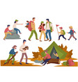 camping people children and parents spending time vector image vector image