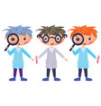 cartoon scientists and magnifying glass eps10 cont vector image vector image