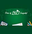 class 2021 congrats text and school colored pen vector image