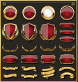 collection of elegant red and golden badges and vector image vector image