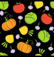 color silhouette seamless black vegetable pattern vector image
