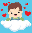cute little boy on cloud valentine vector image vector image