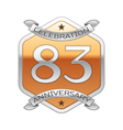 Eighty three years anniversary celebration silver vector image vector image