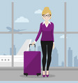 executive female walking with her suitcase at the vector image vector image