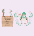 fairy with unicorn and label wooden invitation vector image vector image