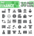 finance glyph icon set banking symbols collection vector image vector image
