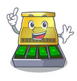 finger cartoon cash register with a money drawer vector image