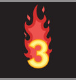 flaming number three vector image vector image