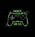 gamer 100 level gamepad emblem t-shirt graphics vector image vector image