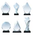 glass trophy award acrylic awards crystal shape vector image vector image