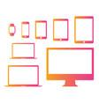 gradient pink to orange mobile tablet laptop vector image