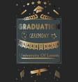 graduation ceremony announcement rich golden vector image