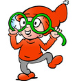 Hand-drawn of an Happy Christmas Elf with big vector image vector image