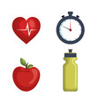 healthy lifestyle set icons vector image