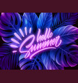 hello summer neon lettering on a background vector image vector image