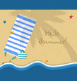 hello summer square banner top view of sea beach vector image vector image