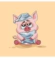 Isolated Emoji character cartoon sleepy Pig in