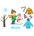 isolated winter set with boy tree and clothes vector image vector image