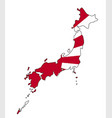 japanese map and flag vector image vector image