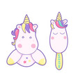 kawaii cute unicorn and ice cream sweetly pastel vector image vector image