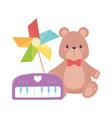 kids toys object amusing cartoon piano pinwheel vector image vector image