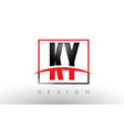 ky k y logo letters with red and black colors and vector image vector image