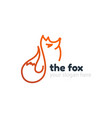 line fox logo template vector image vector image