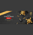 merry christmas sale black gift box golden ribbon vector image
